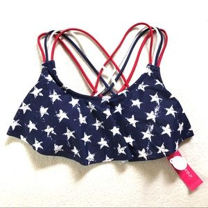 Xhilaration Swim - America Red White Strappy Stars Ruffle Bikini Top